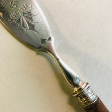 Load image into Gallery viewer, Antique Silver Butter Knife With Engraved Blades and Wooden Handle | Mappin & Webb