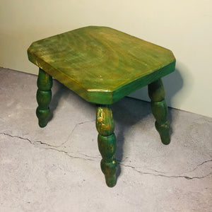 Small Vintage Stool | Rustic Shabby Chic Green Stool