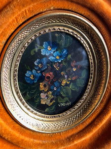 The Director Dimitri- Victorian Velvet Frame Miniature Oil Painting