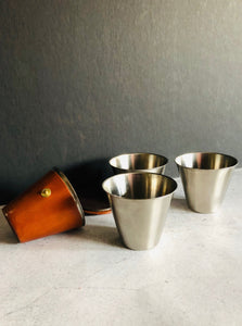 The Director Julian - Vintage Leather Cased Riding Travel Cups