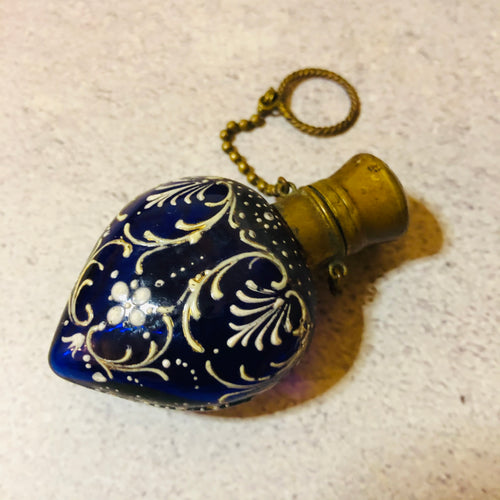 Victorian Blue Heart Scent Bottle | Hand Painted Perfume Bottle