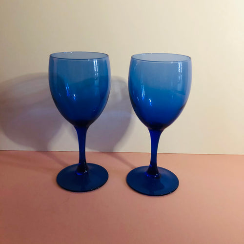 The Stripper Jude - Vintage Luminarc Blue Wine Glasses