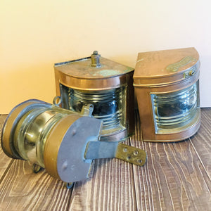Antique Copper Ship Navigation Lights Interior Design Piece