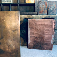 Load image into Gallery viewer, Vintage Wood Mounted Etched Hebrew Writing Copper Printing Plate