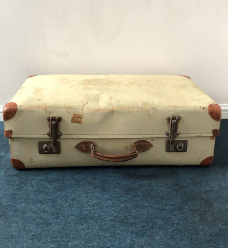 The Goth Pamela - Large Cream Vintage Suitcase