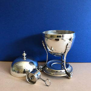 The Groom Max - Antique Silver Plated Egg Coddler with Engraving