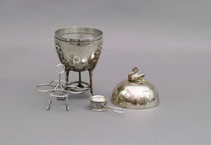 The Groom Ash - Silver Egg Coddler with Swan Finial