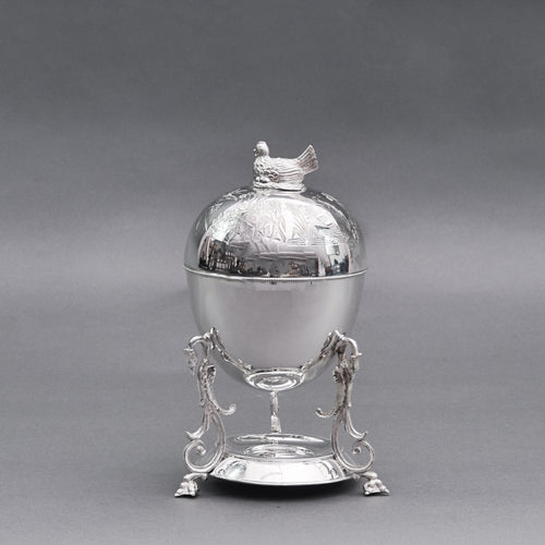 The Groom Ivan - Antique Silver Plated Egg Coddler With Chicken Top