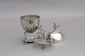 The Groom Steve - Silver Plated Egg Coddler with Rooster Finial