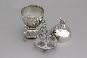 The Groom Steve - Silver Egg Coddler with Rooster Finial