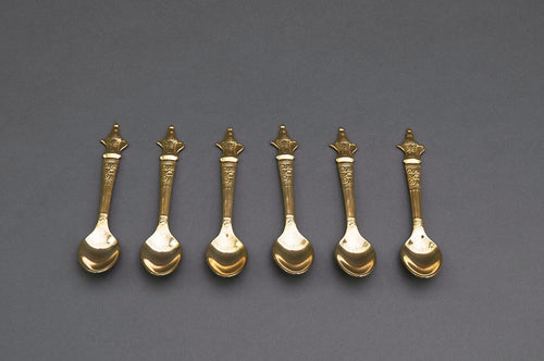 The Headhunter Anton - Set of 6 Vintage Gold Plated Mocha Spoons with Coffee Pot Handle