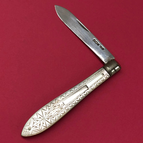 The Headhunter Pamela -Antique Silver Fold Fruit Knife 1926