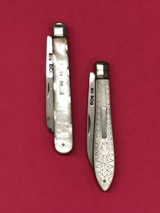 The Headhunter Tristan -Antique Silver Fold Fruit Knife 1893