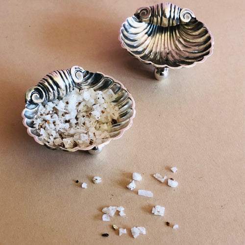 Master Arthur - Pair of Antique Silver Shell Design Salts 1899