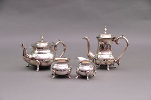 Master Carolyn - Ornate Footed Silver Plate Sugar and Cream Set