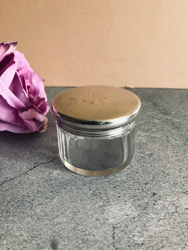 The Mixologist Fara - Round Glass Vanity Jar With Solid Silver Lid