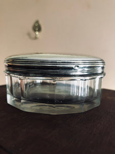 The Mixologist Hazel - Round Glass Vanity Jar With Solid Silver Lid