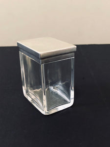 The Mixologist Cara - Antique Rectangle Glass Jar With Silver Lid