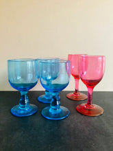 Load image into Gallery viewer, The Stripper Brian - Vintage Handblown Blue Wine Glasses