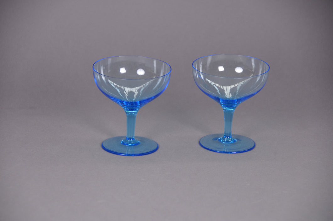 The Stripper Hayden - Pair of vintage blue champagne saucers