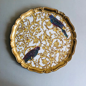 The Tattooist Tam - Gold Parrot Pattern Florentine Tray