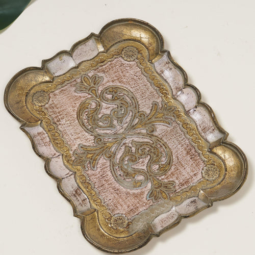 The Tattooist Andre- Pink and Gold Small Papier Mache Tray