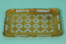 Load image into Gallery viewer, The Tattooist Carlson - Blue and gold rectangle papier mache tray