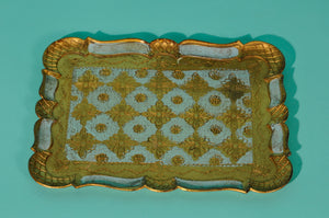 The Tattooist Carlson - Blue and gold rectangle papier mache tray