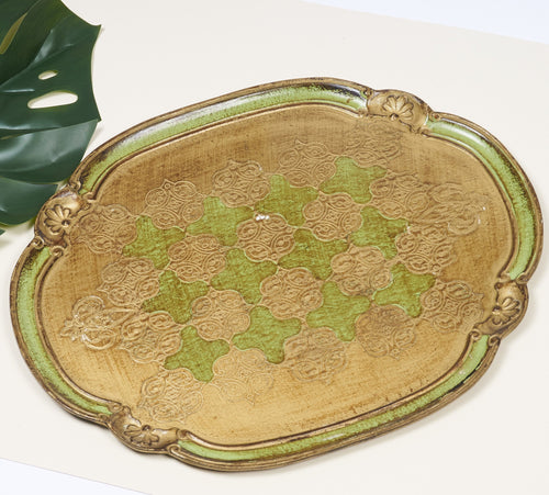 The Tattooist Courtney - Large Oval Gold And Green Papier Mache Platter