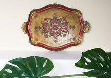 Load image into Gallery viewer, The Tattooist Erin  - Red and Gold Papier Mache Tray