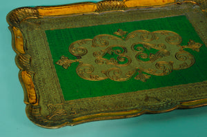 The Tattooist Jade - Green and gold rectangle papier mache tray