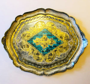 The Tattooist Noel - Large Gold and Blue Papier Mache Tray