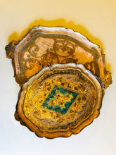 Load image into Gallery viewer, The Tattooist Noel - Large Gold and Blue Papier Mache Tray