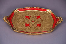 Load image into Gallery viewer, The Tattooist Ruby - Red and gold papier mache tray