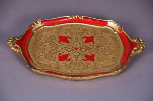The Tattooist Ruby - Red And Gold Papier Mache Tray