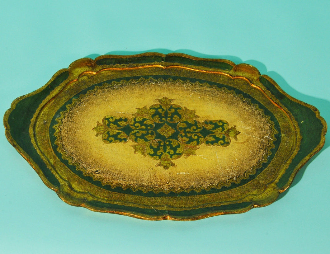 The Tattooist Tyler - Large Oval Gold And Green Papier Mache Platter