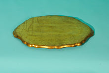 Load image into Gallery viewer, The Tattooist Tyler - Large Oval Gold And Green Papier Mache Platter