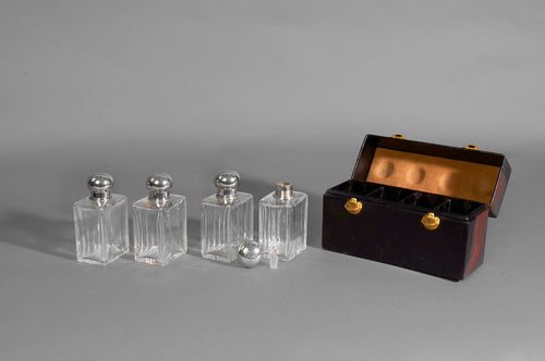 The Artist Anne - Set of Four Antique Glass Bottles in a Carry Case