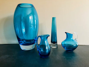 The Stripper Ida - Whitefriars Kingfisher Blue Glass Jug