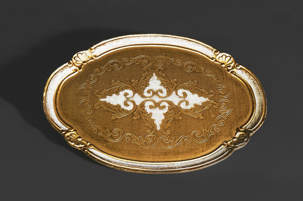 The Tattooist Francis - Oval Cream and Gold Papier Mache Platter