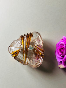 Midcentury Vintage Heart Shape Glass Trinket Box