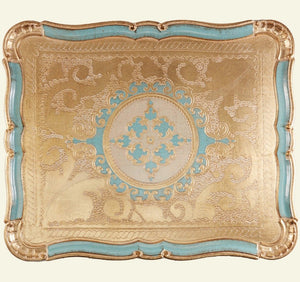 Tattooist Nancy - Blue & Gold Large  Florentine Tray