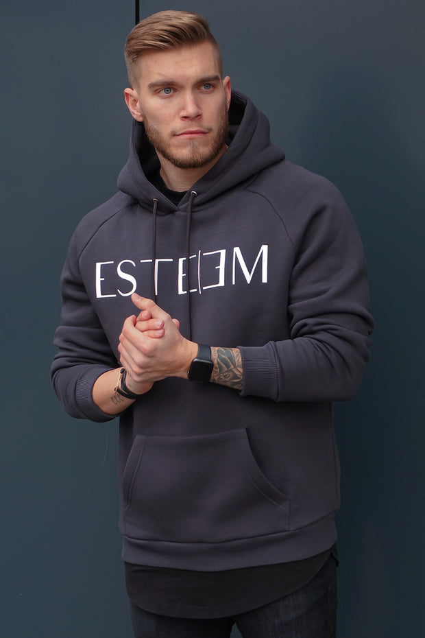 ANTHRACITE LETTERING HOODIE