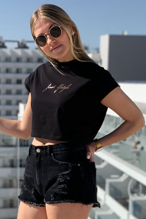 "BLACK ""FINEST LIFESTYLE"" CROPPED TEE"