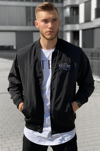BLACK PATCH BOMBER JACKET