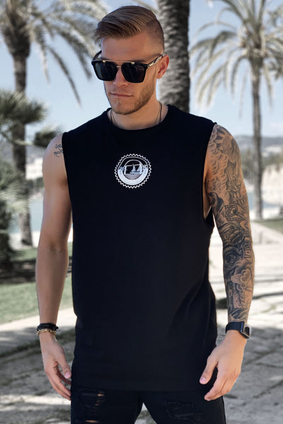 "BLACK ""SUNSEEKER"" TANK TEE"