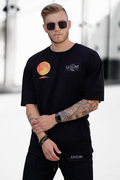 "BLACK ""SUPERMOON"" HEAVY OVERSIZED TEE"