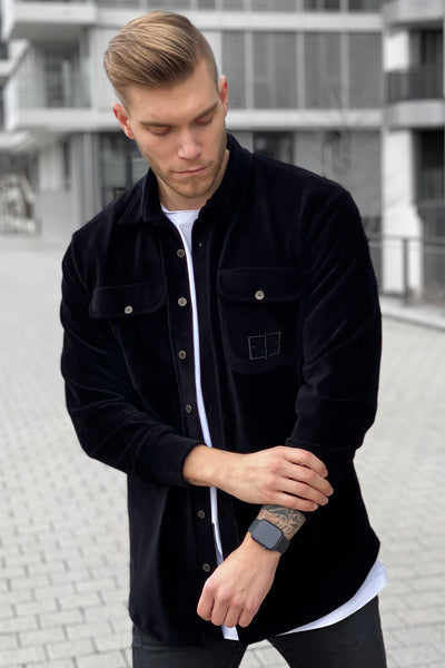 BLACK VELOUR CORD SHIRT