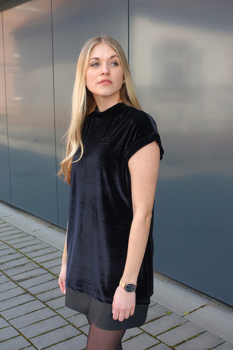 BLACK VELOUR LONG TEE