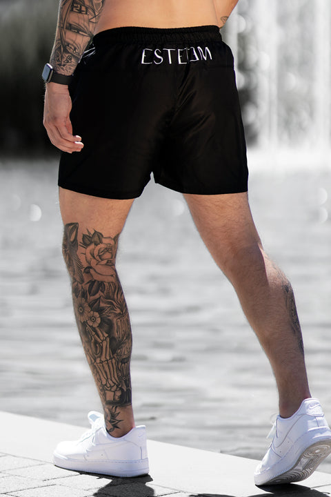 BLACK VERTICAL SWIMSHORTS